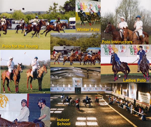Collage of pictures showing: Polo for the Young; Winter Polo; Polo Instructures; Ladies Polo; Indoor School